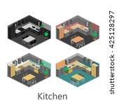 isometric interior of kitchen | Shutterstock . vector #425128297
