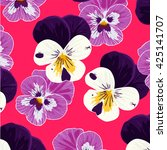 seamless pattern with pansy... | Shutterstock .eps vector #425141707