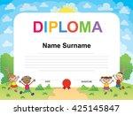 kids diploma certificate... | Shutterstock .eps vector #425145847