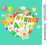 themed kids art  poster in flat ... | Shutterstock .eps vector #425151253