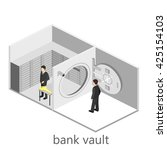 isometric interior of bank vault | Shutterstock . vector #425154103