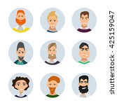 set of diverse round avatars... | Shutterstock .eps vector #425159047
