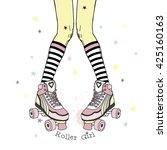 teenager girl in rollers. hand... | Shutterstock .eps vector #425160163