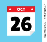 calendar icon flat october 26