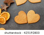 Heart Shaped Biscuits On Grey...