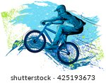 concept of sportsman cycling.... | Shutterstock .eps vector #425193673