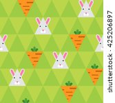 rabbit and carrot on the green... | Shutterstock .eps vector #425206897