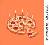 pizza birthday cake. concept... | Shutterstock .eps vector #425211103