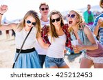 group of teenagers at summer... | Shutterstock . vector #425212453