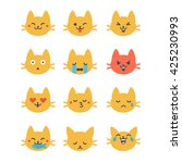 Set Of Vector Cat Emoticons In...