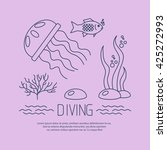 diving icon with jellyfish and... | Shutterstock .eps vector #425272993