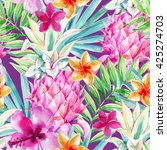 watercolor pink pineapple fruit ... | Shutterstock . vector #425274703