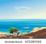 seascape with the yacht and the ... | Shutterstock .eps vector #425289283