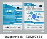 blue vector leaflet brochure... | Shutterstock .eps vector #425291683