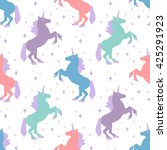 seamless pattern with unicorn... | Shutterstock .eps vector #425291923