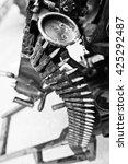 Small photo of Cartridge belt of ammo at machine gun.