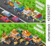 street food trucks isometric... | Shutterstock .eps vector #425302957