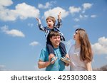 family of three people  young... | Shutterstock . vector #425303083