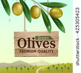 label of green olives with... | Shutterstock . vector #425305423