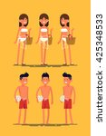 cool vector set of female and... | Shutterstock .eps vector #425348533