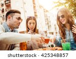 young group of laughing people... | Shutterstock . vector #425348857