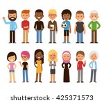 diverse set of cartoon people.... | Shutterstock .eps vector #425371573