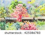 watercolor original landscape... | Shutterstock . vector #425386783