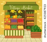 farmers market. sale fruits and ... | Shutterstock .eps vector #425387923