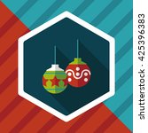 christmas ball flat icon with... | Shutterstock .eps vector #425396383