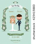 hipster wedding invitation card ... | Shutterstock .eps vector #425415883