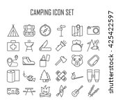 camping icons.  backpack  axe ... | Shutterstock .eps vector #425422597