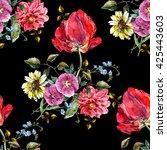 bouquet flowers with tulip ... | Shutterstock . vector #425443603