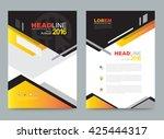orange annual report leaflet... | Shutterstock .eps vector #425444317
