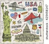 new york doodle set.american... | Shutterstock .eps vector #425458147