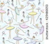 seamless pattern with dancing... | Shutterstock .eps vector #425480053