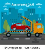 car assistance. roadside tow... | Shutterstock .eps vector #425480557