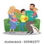 big family on sofa. happy... | Shutterstock . vector #425481577