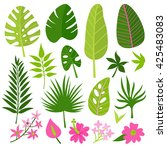 vector set of tropical leaves... | Shutterstock .eps vector #425483083