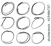 set of vector simple circle... | Shutterstock .eps vector #425486737