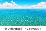 tropical sea sky clouds blue 3d ...   Shutterstock . vector #425490037