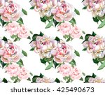 2 peonies watercolor pattern | Shutterstock . vector #425490673