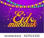 a beautiful card of  eid... | Shutterstock .eps vector #425521333