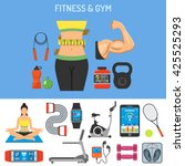 fitness   gym vector concept... | Shutterstock .eps vector #425525293