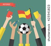 referee hand holding a soccer... | Shutterstock .eps vector #425541823