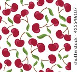 vector red cherry and green... | Shutterstock .eps vector #425546107