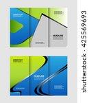 vector empty tri fold brochure... | Shutterstock .eps vector #425569693