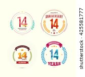 14 years anniversary set with... | Shutterstock .eps vector #425581777