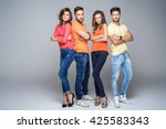 group of friends in fashionable ... | Shutterstock . vector #425583343