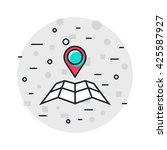location flat design line icon. ... | Shutterstock .eps vector #425587927