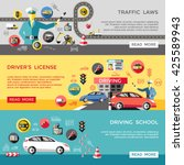driving horizontal banners set... | Shutterstock .eps vector #425589943